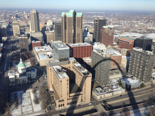 Downtown St. Louis from the top of the Gateway Arch, 640 feet high